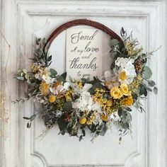 'Eternal happiness' ボタニカル リースブーケ サンク ロンディネ   ハンドメイドマーケット minne Autumn Wreaths, Christmas Wreaths, Corsage, Dried Flowers, Grapevine Wreath, Flower Power, Flower Arrangements, Diy And Crafts, Floral Wreath