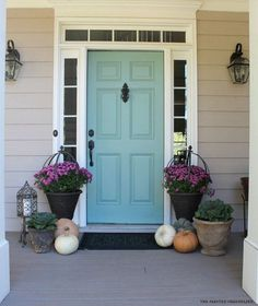 Image result for tiffany blue front door with light gray house