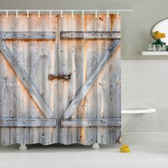 Eco-Friendly Dream Wood Door Printing Shower Curtain For Bathroom - COLORMIX