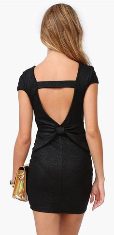 Black Backless Back Bow Dress ♥ the BOW!!!! Boy I gotta get back to the gym!!!