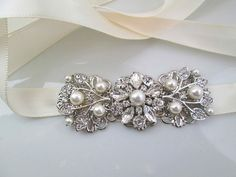 Pearl Headband, Ribbon HairPiece, Silver and Crystal, Floral Bridal Accessory, Vintage Style Wedding Accessories
