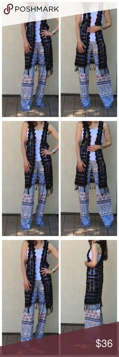 Gorgeous lace vest Gorgeous chic black lace open vest with fringe trim and velvet trim PLEASE USE Poshmark new option you can purchase and it will give you the option to pick the size you want ( all sizes are available) BUNDLE And SAVE 10% ( sizes updated daily ) Jackets & Coats Vests