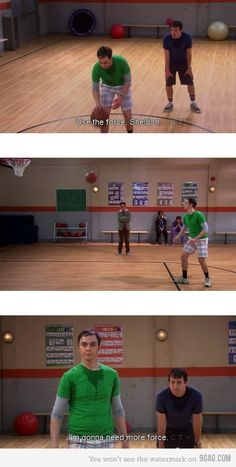 haha sheldon playing baskitball