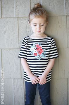 Cutie Patootie. Floral and striped Tee DIY