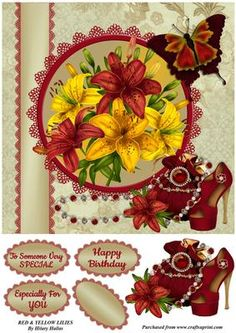 Red Yellow Lillies on Craftsuprint designed by Hilary Hallas - A 7.75x7.75 card front with an extra layer and choice of sentiment tags featuring beautiful red and yellow lillies, lace frame and ribbon, butterfly and evening bag and shoes decoration. Matching insert panel available separately. - Now available for download!