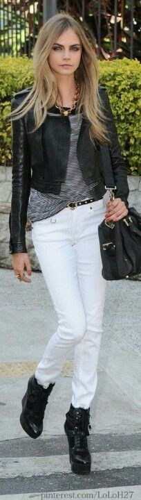 white skinnys, cropped leather & shoebooties