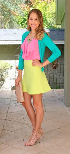 Turquoise cardigan, pink top, citrus skirt, banana blouse