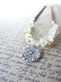 Boho silver pendant surrounded by citrine stones by DreamofaDream, $65.00