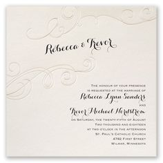 Flourish in Pearl Wedding Invitation by David's Bridal. #davidsbridal #weddinginvitations #blacktiewedding