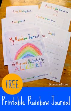 Free printable rainbow journal pages for kids - great writing prompts for kids