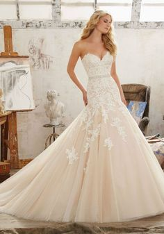 Mackenzie Wedding Dress Wedding Dresses and Bridal Gowns by Morilee. Beautiful Fit & Flare Bridal Gown with Sweetheart Neckline Embroidery on Tulle and Net. New 2017 Wedding Dress. Mori Lee Bridal, Mori Lee Wedding Dress, Fit And Flare Wedding Dress, Sweetheart Wedding Dress, Bridal Wedding Dresses, Wedding Dress Styles, Mermaid Wedding, 2017 Wedding, Drop Waist Wedding Dress