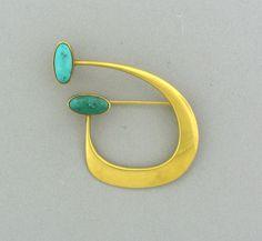 Danish modern gold brooch by Bent Gabrielsen