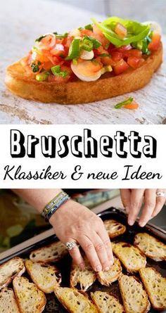 Knuspriges Brot, aromatische Tomaten – so lieben wir Bruschetta! – Aber auch die… Crispy bread, aromatic tomatoes – that's how we love Bruschetta! – But even the new variations are worth more than a try. Appetizer Recipes, Dinner Recipes, Holiday Appetizers, Food For A Crowd, Finger Foods, Italian Recipes, Bread Recipes, Tapas, Healthy Snacks