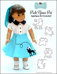 An idea...embroider the dog on the skirt... Angie Girl The 4-Way Wardrobe Doll Clothes Pattern 18 inch American Girl Dolls | Pixie Faire