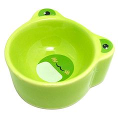 Hamster Bowl Ceramic Prevent Tipping Moving Chewing Cartoon Frog Food Dish for Rodent Gerbil Hamster Mice Guinea Pig Cavy Hedgehog Small Animal