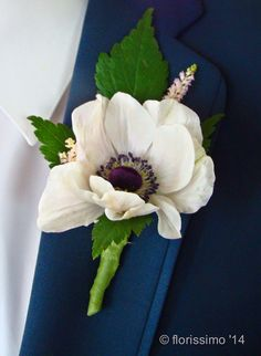 Groom's Boutonniere- Anemone accented with Astilbe. I think we will use Dusty Miller as the foliage to coordinate with the groomsmen boutonnieres and your bouquet. Thistle Flower, My Flower, Flower Crown, Flower Ideas, Corsage Wedding, Wedding Bouquets, Wedding Flowers, Boutonnieres