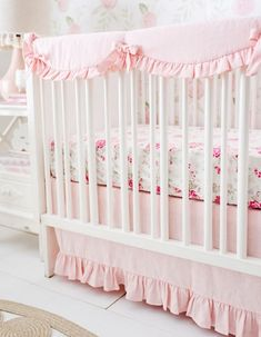 Soft pink sets the stage for a dreamy blush pink crib bedding set! So elegant, this blush crib bedding is a classic. Linen crib bedding lends an enchanting look. Baby Girl Bedding Sets, Crib Bedding Sets, Nursery Bedding, Girl Nursery, Nursery Ideas, Girl Room, Wooden Cribs, Crib Rail Cover