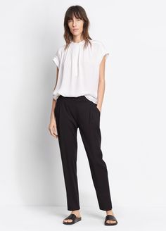 Single Pleat Pull-On Pant for Women   Vince