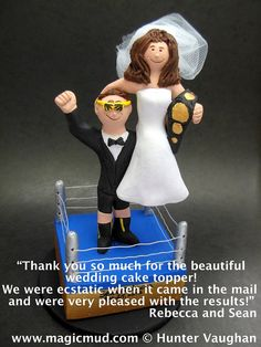 WWF Wrestler's Wedding Cake Topper    Wrestling Wedding Cake Topper, custom created for you! Perfect for the marriage of a WWF Wrestling Fan Groom and his Bride!    $235   #magicmud   1 800 231 9814   www.magicmud.com