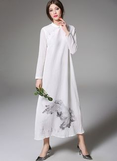 5558043474d0 White Cotton Dress White Cotton Floral Long Sleeve Maxi Dresses White  Cotton Summer Dress