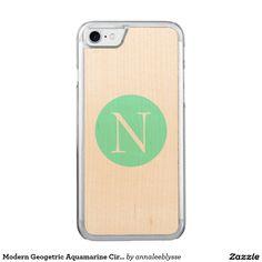 Modern Geogetric Aquamarine Circle Monogram Carved iPhone 7 Case