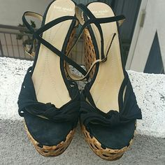 Kate Spade platforms Ready for summer! Wicker wedges with suede string fabric. 4inch platform at heels, 1.5inch platform at front/toes. kate spade Shoes Platforms