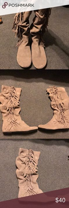 Steve Madden fringe boots Steve Madden suede fringe boots. Excellent condition. Worn once. Comes with shoe box Steve Madden Shoes Combat & Moto Boots