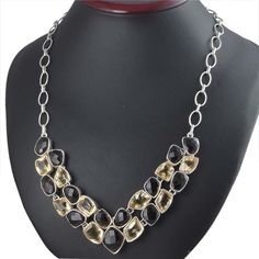 NEW SMOKEY & CITRINE 925 SOLID STERLING SILVER CLASSIC NECKLACE 66.18g NK0009 #Handmade #NECKLACE