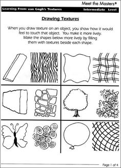 See 9 Best Images of Drawing Texture Worksheet. Art Texture Worksheet Art Texture Drawing Examples Visual Textures Drawings Art Texture Worksheets for Kids Texture and Pattern for Zentangles Elements Of Art Texture, Art Elements, 6th Grade Art, Grade 1, Third Grade, Art Doodle, Art Handouts, Art Worksheets, Printable Worksheets
