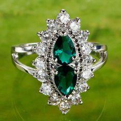 462BBR17 Pear Cut Emerald Quartz White Topaz Gemstone Silver Ring Size 6 7 8 9 | eBay