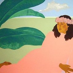 Kailua Moon Diptych 1983 by Pegge Hopper - Limited Edition Print Pegge Hopper, Vintage Hawaii, Aloha Vintage, Vintage Ski, Hawaiian Art, Hawaiian Decor, Polynesian Art, Vintage Travel Posters, Illustrations Posters