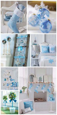 Идеи новогоднего декора в голубом цвете,  blue christmas decor ->  http://interiorizm.com/blue-christmas-decor