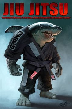 """John Connell's design from a quote from the legendary Carlos Machado: """"The ground is my ocean, I'm the shark, and most people don't even know how to swim."""" I love the Grind Jiu Jitsu Gi"""