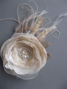 Rustic mini small bridal Hair Clip Beige ivory by LeFlowers, $34.00