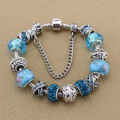 Fashion Jewelry 925 Silver Bracelets & Bangles Crystal Murano Beads Charm Bracelets For Women DIY Vintage Bead Bracelets 3
