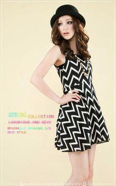 Sleeveless chevron dress, $28