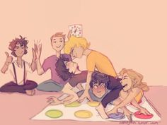 Percabeth and Solangelo playing TWISTER>>> Oh my Gods, I feel so sorry for Percy right there.. AND JASON AND LEO AT THE BACK! XD I love this so much and I don't know why...
