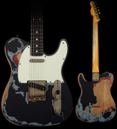 """This is one of my current guitars, a good little player, with the typical treble-cutting Telecaster sound. It was built by Fender to the ravaged-look of the famous one owned by Joe Strummer (The Clash). I put a Radiohead """"shouting man"""" sticker on my pick guard also. But that's just me."""