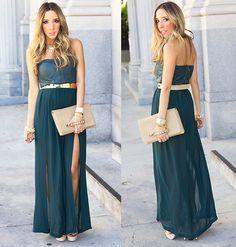 DEEP TEAL DOUBLE SLIT DRESS (by Maria De La Cruz) http://lookbook.nu/look/4215277-DEEP-TEAL-DOUBLE-SLIT-DRESS