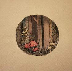 in the woods 2013 watercolor and micron pens Art And Illustration, Gravure Illustration, Pretty Art, Cute Art, Arte Inspo, Mushroom Art, Wow Art, Aesthetic Art, Cute Drawings