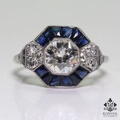Antique Art Deco Platinum 1.04ct. Diamond & 0.9ct. Sapphire Ring