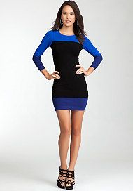 bebe Tricolored Colorblock Dress