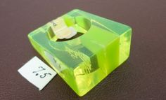 60s clear lgt green stripes heavy laminated lucite ring Size 7.5  vintage by LoukiesWorld on Etsy