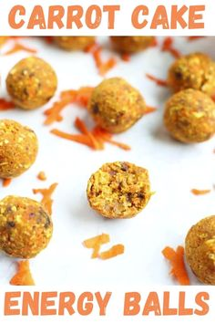 These Carrot Cake Energy Balls are a GREAT snack to have on hand! They are easy to make, vegan, gluten free, and they will satisfy your sweet tooth! Great healthy snack recipe!
