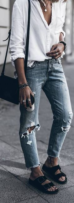 cute outfit idea:shirt + ripped jeans