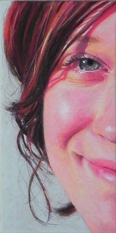 """Iris"", 16x8"", commissioned pastel portrait of girl by Daggi Wallace. www.daggistudio.com"