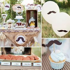 A Little Man Mustache Baby Shower Put mustaches on balloons outside