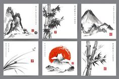 Japanese ink painting sumi-e, part 1 by Elina_Li on @creativemarket