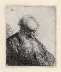 Bust of an Old Man with Flowing Beard: the Head Inclined Three-Quarters Right Rembrandt (Rembrandt van Rijn) (Dutch, Leiden Amsterdam) Date: 1630 Medium: Etching Classification: Prints Credit Line: Bequest of Julie Parsons Redmond, 1960 Accession Number: Rembrandt Etchings, Rembrandt Drawings, Drypoint Etching, Old Men, Art Reproductions, Art History, Printmaking, Art Drawings, Illustration Art