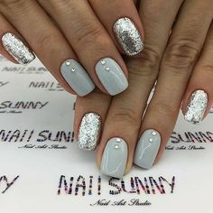 Gray and Silver Nails. Acrylic Nails. Nails With Rhinestones.